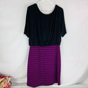 Sharagano Dresses - Sharagno Black & Purple Houndstooth Dress Size 12